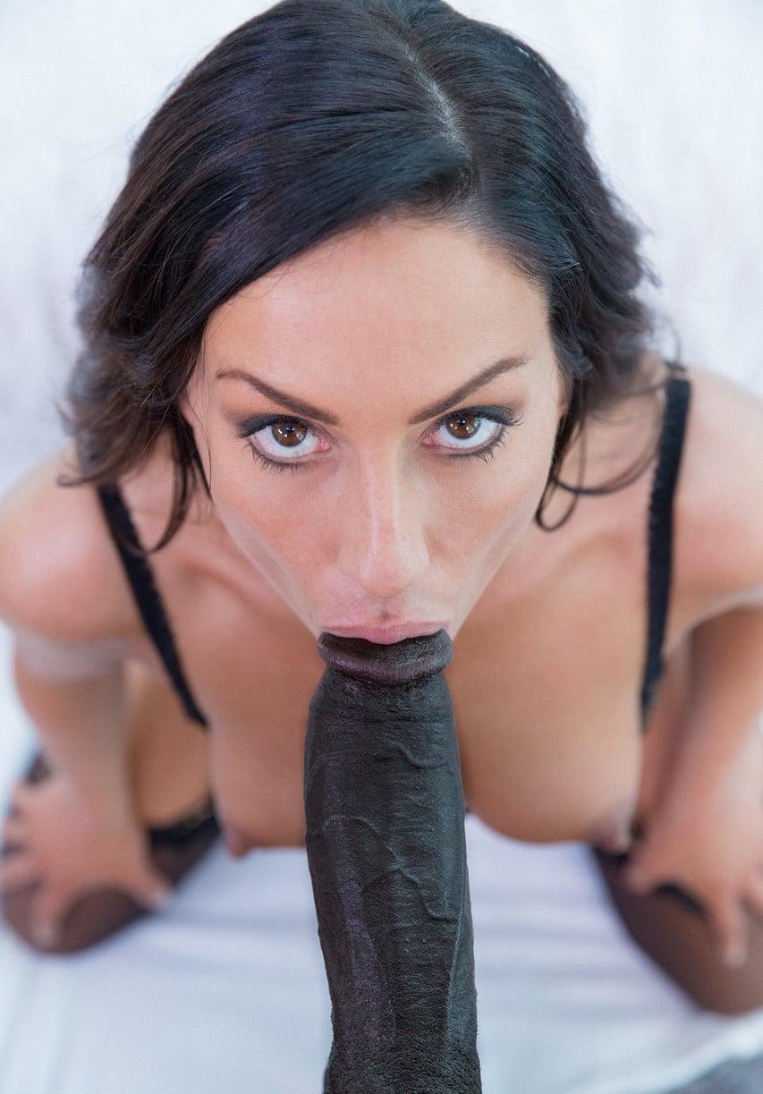 brunette sucking black dick pov